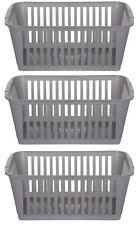 37cm Silver Plastic Handy Basket Storage Basket - Set Of 3