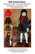 Doll Clothes Sewing School Days Pattern 43cm Ball Joint , MSD Dolfie