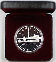 1984 Canada Silver Dollar, 150th Anniversary of Toronto, Sesquicentennial In Box