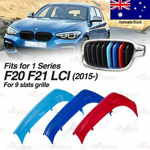 M-Color 9 BAR Kidney Grille 3 Front Cover Insert Clips for BMW F20 F21 LCI 15-19