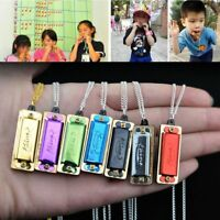 Mini 4 Holes Harmonica Chain Necklace for Children Gift Kids Musical Toy 1PC
