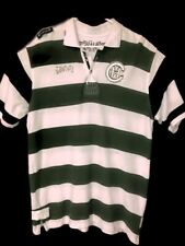 Crown Holder Mens Large Striped Polo Green White Black Short Sleeve 100% Cotton