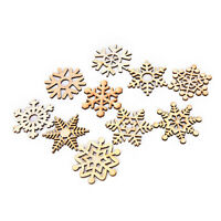 10 Assorted Wooden Snowflake Laser Cut Christmas Tree Hanging Decor Ornament CC