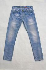 Morris Paradise da Uomo Vintage Slim Fit Jeans Blu Chiaro Denim Scolorito 80 S Sz48 W32