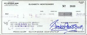 Elizabeth Montgomery signed check BEWITCHED- large check size -died 1995