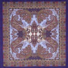 """50x50"""" Russian Pavlovo Posad Shawl Wool Pashmina Wrap Purple Paisley Pattern"""