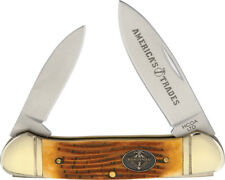 "Canoe Brown Bone Handle 3.62"" Closed Stainless 2-Blade Folding Knife"