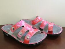 ALEGRIA LEATHER SLIP ON SANDALS NEW VENICE ARTISAN RED PINK 37 FITS 7 TO 7 1/2