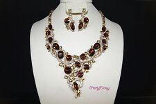 BRAND NEW Brown Topaz Wedding Bridal Rhinestone Necklace Fashion Jewelry Set