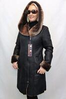 NEW 2018 100% GENUINE SHEEPSKIN Shearling Leather Black long Coat Hood XS - 6XL