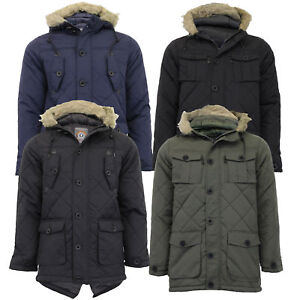 Mens Parka Jacket Brave Soul Coat Padded Hoodie Fur Fish Tail Lined Winter New