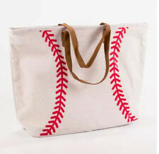 Baseball X-Large Jute Woven Tote Bag Leather Handles Classic Game Day Travel NEW