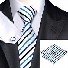 Uomo bianco e blu strisce nere tie + hanky & cuflinks corrispondenza Set 237