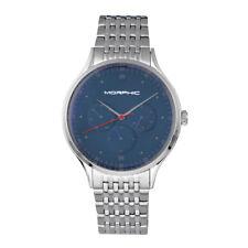 Morphic M65 Series Men's Silver Bracelet Watch w/ Day Date - Blue 6503