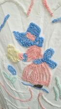 "vintage child size Chenille Bedspread / sun bonnet baby / unusual 45"" X 66' rare"