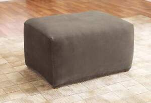 Sure Fit Stretch pique waffle weave Ottoman Slipcover Mushroom taupe NEW