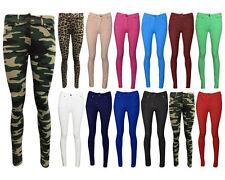 Para Mujer botón Jeggings señoras Pullup Fit Skinny elásticos Color Pantalones Jeans