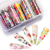 10 Rollen/ Box Nagel Folien Aufkleber Schmetterling Transfer Decals Nail Art