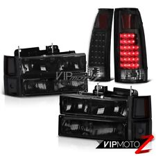 For 95-99 Chevy Tahoe 10PC Black Smoke LED Brake Lamp Headlight Set LEFT RIGHT
