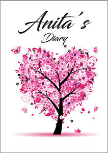 2021 diary personalised pink tree A5