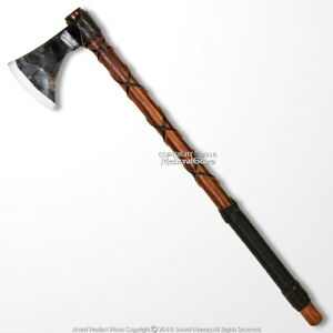 "26"" Steel Viking Axe Medieval Renaissance Hatchet Solid Wood Handle LARP Cosplay"