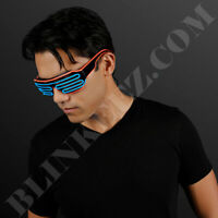 RED BLUE EL WIRE Neon LED Festival Light Up Glow Sunglasses Glasses Rave Party