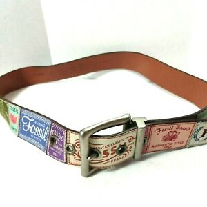 Fossil Vintage Labels Funky Fun Genuine Leather Size Large Belt Old School
