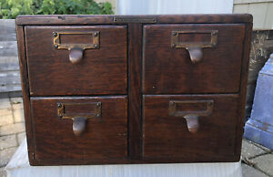 Vintage Library Bureau Sole Makers 4 Drawer Library Card Catalog File Cabinet