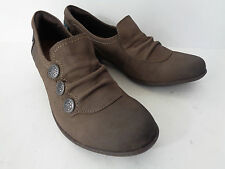 COBB HILL Womens US 7M Distressed Taupe Leather Slip On Slouch Low Heel Shoe