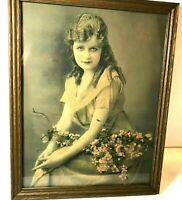 Antique Victorian 20's Girl Framed Hand tinted Photograph signed Kauffman