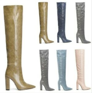 Women's Knee-high Boots Pointy Toe Block Heels Pull on Custom-made Shoes 34-44