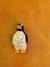 Vintage Swarovski Swan Black Enamel Rhinestone Crystal Penguin Pin Brooch - New