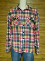 PL & CO Casual Attire Red Plaid Flannel Button Front Shirt Mens Size Large L