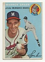 1954 Topps #20 Warren Spahn Milwaukee Braves HOF
