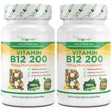 2x Vitamin B12 = 400 Tabletten mit 1000mcg - Methylcobalamin - 100% vegan B-12