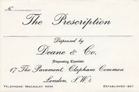 DEANE & CO. Clapham Common. SW4 Dispensing Chemists Prescription Envelope  46754