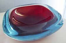 Vintage MCM Murano Cased Art Glass Blue & Red Seguso Sommerso Geode Dish