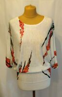Phase Eight Fine Knit Jumper Bat wing Uk10 Cream Pink Floral Spring Lightweight