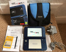 *New Style* Nintendo 3DS XL Metallic Blue Handheld Console, Charger, Case & Box