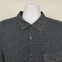 Carbon2Cobalt Mens Black White Mini Check Flannel Dress Button Shirt Size XL
