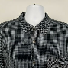 Carbon2Cobalt Mens Black White Mini Check Flannel Dress Button Shirt Size XL