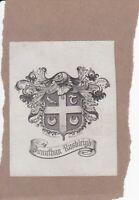 N23 Ex Libris Armorial Bookplate: JONATHAN RUSHLEIGH (Daphne De Maurier interest