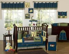 Construction Truck Baby Boy Blue and Yellow 9pc Crib Bedding Comforter Set Room