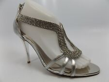 Women's Shoes Glint Stylish Silver Rhinestones Back Zipper Heels SZ 7.5 M D6342