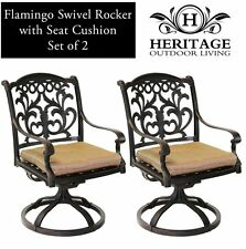 Patio chairs outdoor Cast Aluminum swivel rocker Flamingo Antique Bronze Set 2