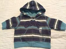 NWT BABY GAP HOODED ZIP FRONT SWEAT JACKET - STRIPED LOGO - SIZE UP TO 3 MONTHS