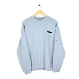 Reebok Vintage Y2K Mens Baby Blue Crew Neck Small Logo Sweatshirt - Size M