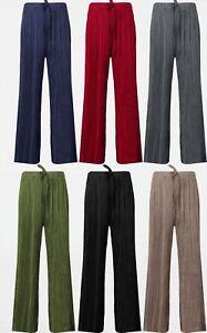Ladies Plazzo Elasticated Waist Wide Leg Culottes Trousers Crinkle Harem Pants