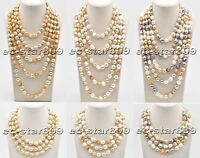 D0330 Long 15mm Yellow & White & Gray Baroque Freshwater Pearl Necklace
