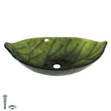 Green Leaf Shaped Tempered Glass Bathroom Vessel Sink Laundry Counter Top Basin